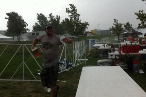 Steve Jones of Pateros Creek braving weather for beer